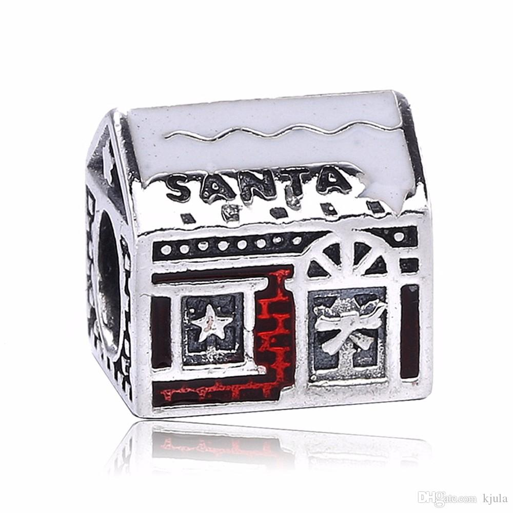 2017 Real 925 Sterling Silver Santa's Home Beads Fits For Snake Bracelet Silver Red Enamel Beads For DIY Jewelry Marking