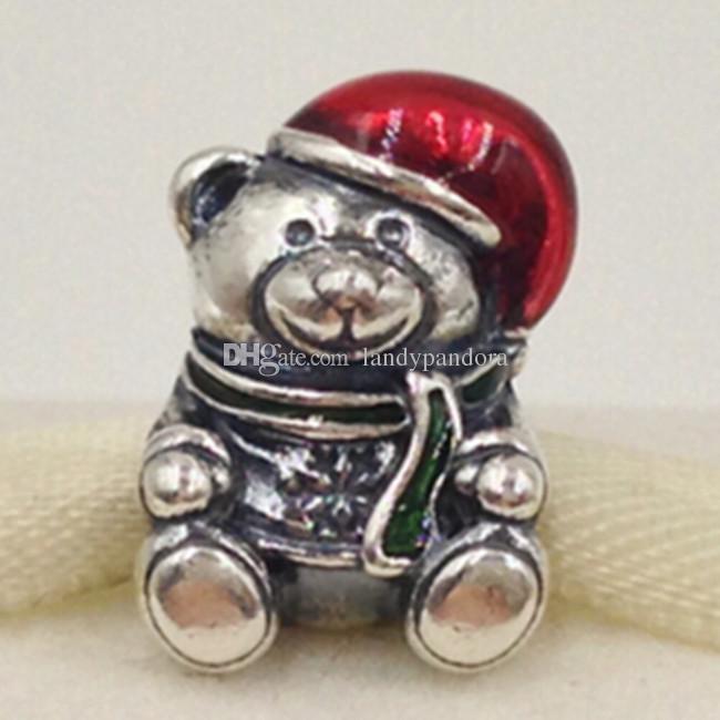 100% S925 Стерлингового Серебра Chrismas Bear Шарм Бисер с Красной Эмалью Подходит Европейский Пандора Ювелирные Браслеты Ожерелья Кулон