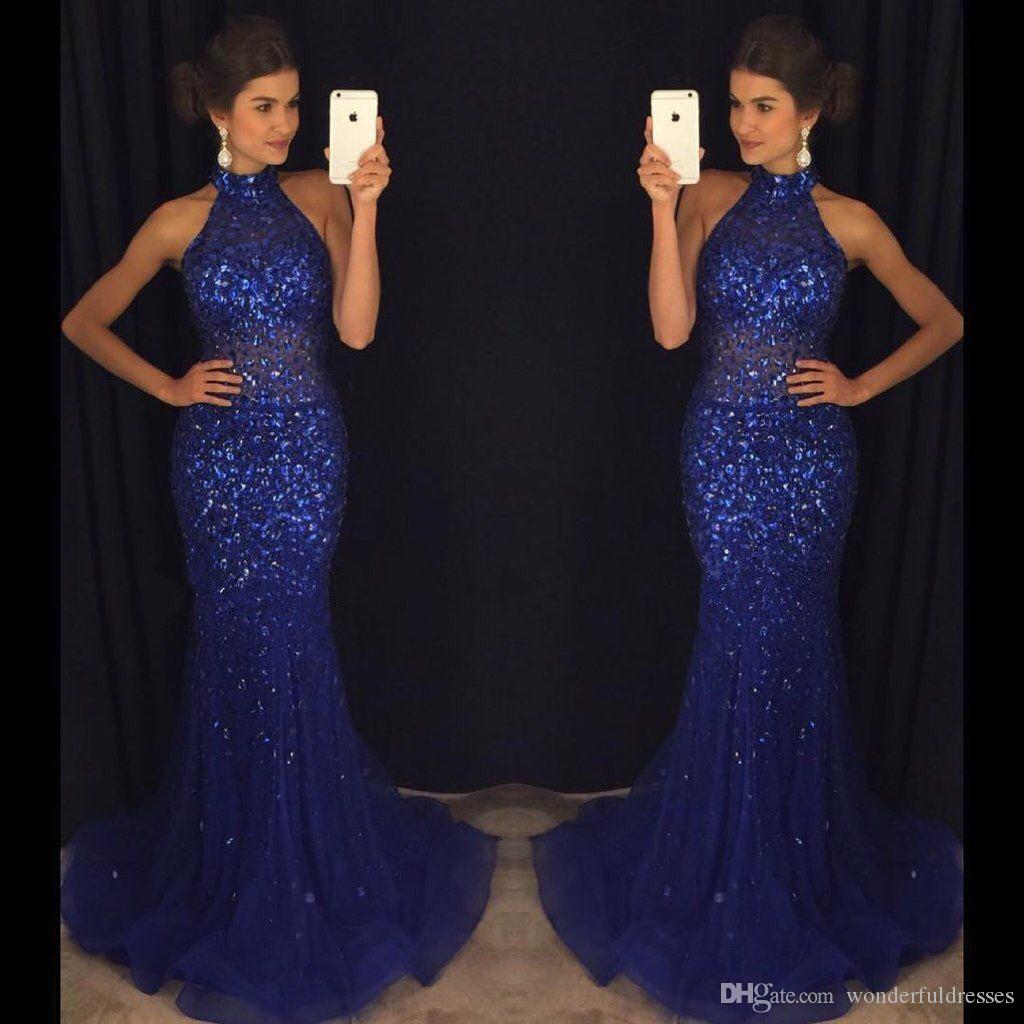 2017 Mermaid Navy Blue Prom Dresses High Neck Full Rhinestone See ...