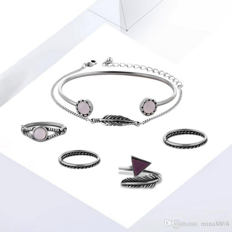 Vintage Silver Plated alloy Triangle Arrow Feather Joint Knuckle rings with hand chain bracelets Midi Rings wedding jewelry Set