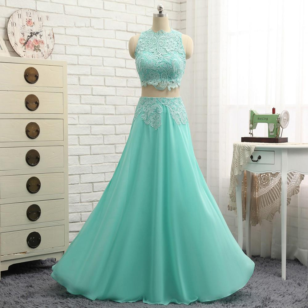2017 Turquoise Two Pieces Prom Dresses Chiffon And Lace A Line Long ...
