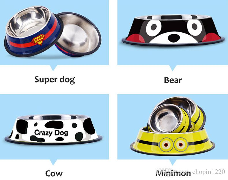 Travel Pet Cat Stainless Steel Bowls for Dogs , Cow Spot Pattern Dog Bowls Outdoor Drinking Water Fountain Pet Dog Dish Feeder Supplier