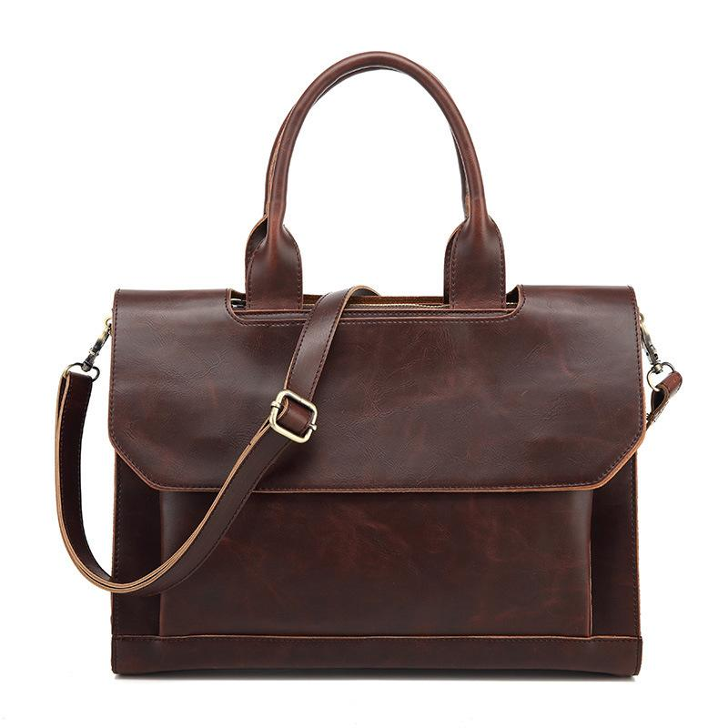 6a77444752e9 Wholesale- Leather Briefcase Men s Crazy Horse Handbags Famous Brand ...