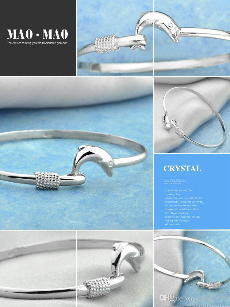 Fashion accessories jewelry 925 Sterling Silver Bangle Bracelet Dolphin Love Legend Open Bangle adjustable Size lover gift