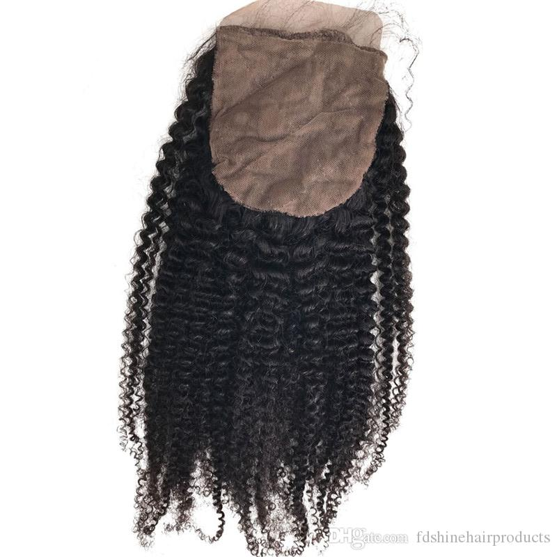 Afro Kinky Curly Silk Base Closure Virgin Peruvian Hair Silk Closure 4x4 With Baby Hair FDSHINE HAIR