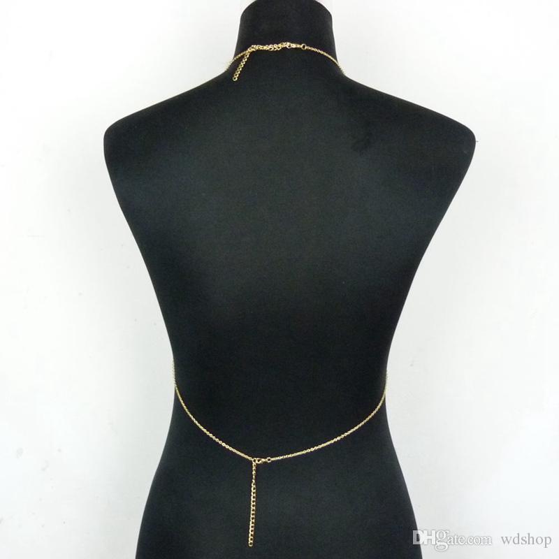 Boho Fashion Gold Color Net Grid Tassel Harness Collana Body Jewelry Sexy Bikini Belly Waist Metallo lega di Bra catena catena del corpo