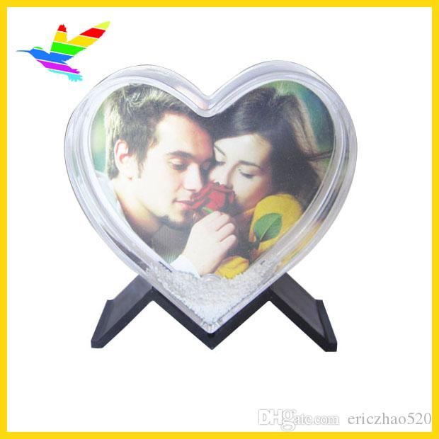 Heart Shape Snow Globe Happy New Valentines Standing Picture Frame