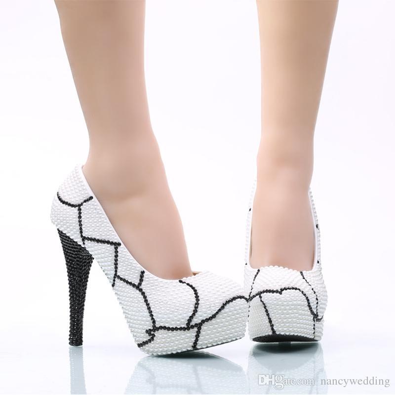 Nedime Ayakkabı Artı Boyutu Beyaz Inci Siyah Rhinestone Düğün Ayakkabı ile Kadınların Yüksek Topuk Platformu Ayakkabı Parti Balo Pompaları