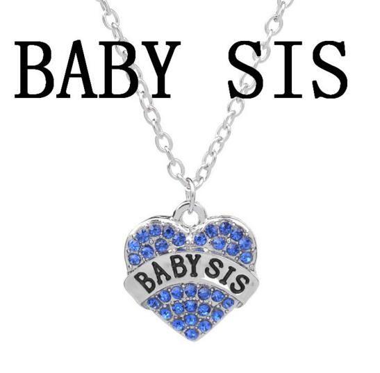 Crystal Heart Grand Moyen Petite Soeur strass Collier bébé meilleure soeur Coeur amour pendentif de femmes Colliers Best Friend Bijoux