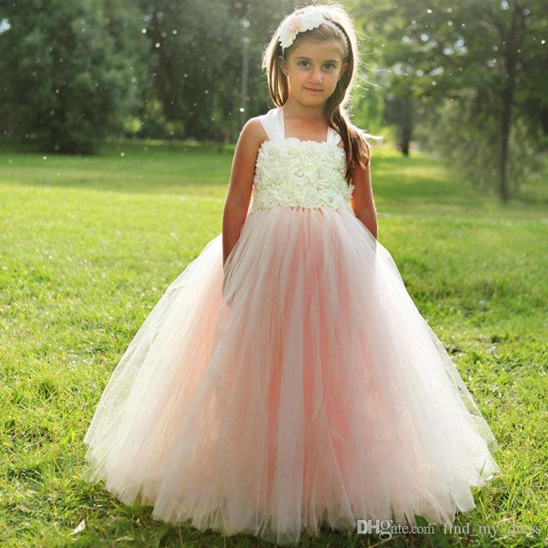 Yeni Bahar Kristal Balo El Yapımı Çiçek Kız Elbise Tül Pembe Kat Uzunluk Pageant Düğün Moda Draped Sıcak Satış