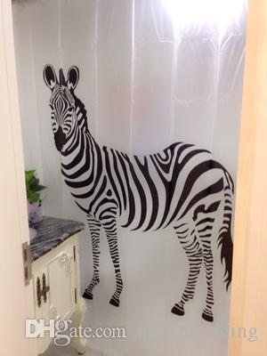 2018 Fashion Zebra Print Shower Curtain White Black Color Waterproof Bathroom Animal Picture Transperant Pvs Curtains From