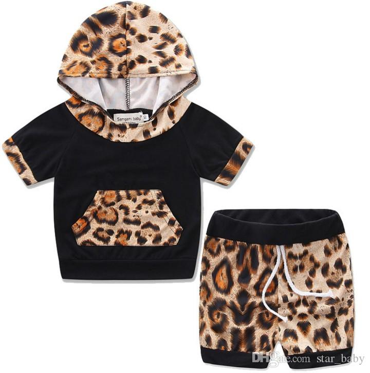 Boys Girls Fashion Outfit Summer Cotton Child Hot Short Sleeve T-shirts+Pants 2 Pcs Set Printed Leopard Korean Boys And Girls Suit B4649