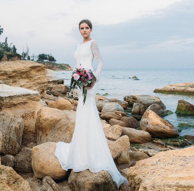 f7b1f66e4c5 Длинный рукав простой кружевной русалка пляж свадебные платья 2018 eva  lendal св