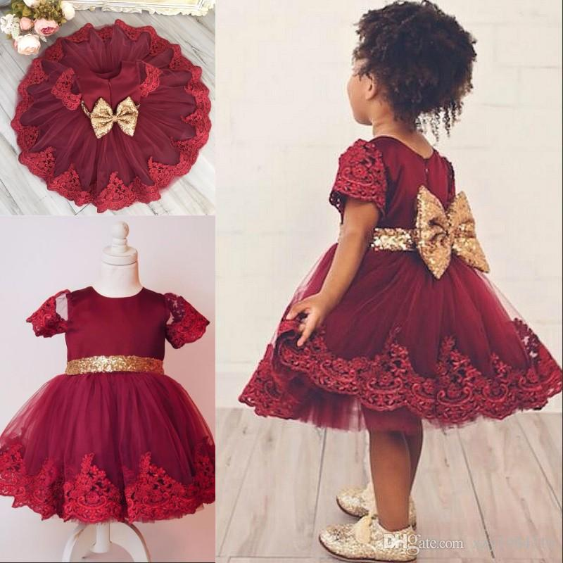 2017 Lovely Knee-Length Flower Girl Dress Lace-Applique Golden Sequins Tulle Baby Girls' Birthday Outfits Cute Baby Girls Communion Dresses