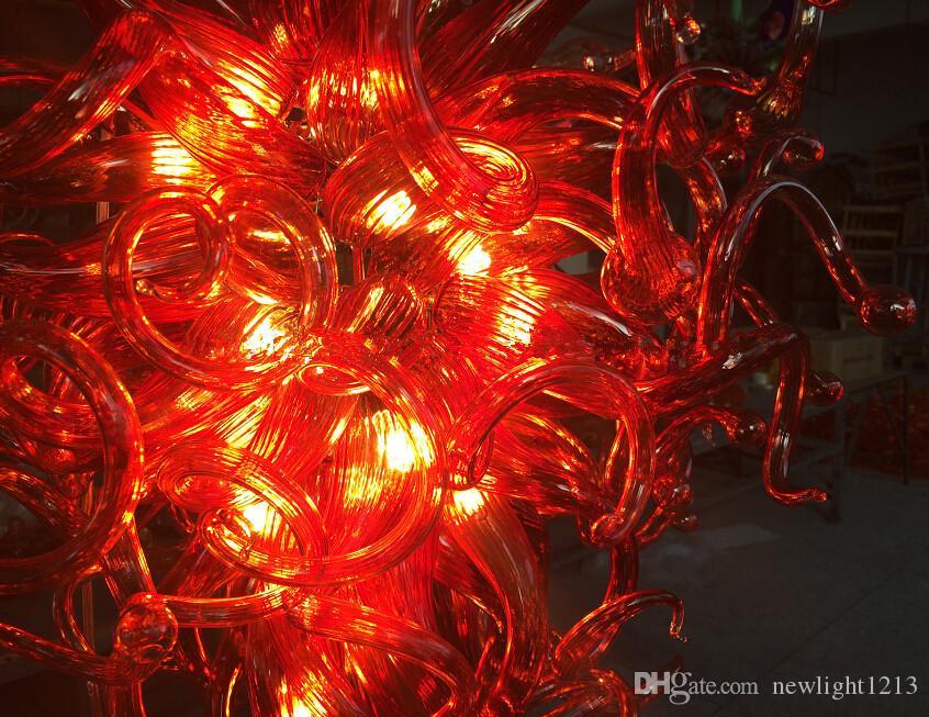 현대 루비 레드 대형 샹들리에 LED 광원 100 % 손 풍선 버블 유리 샹들리에 조명기구