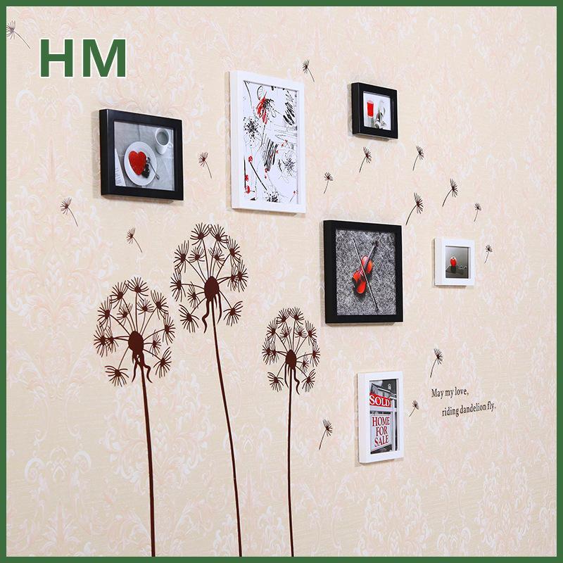 Wall Frames Set wood wall stickers frames set dandelion art decoration set photo