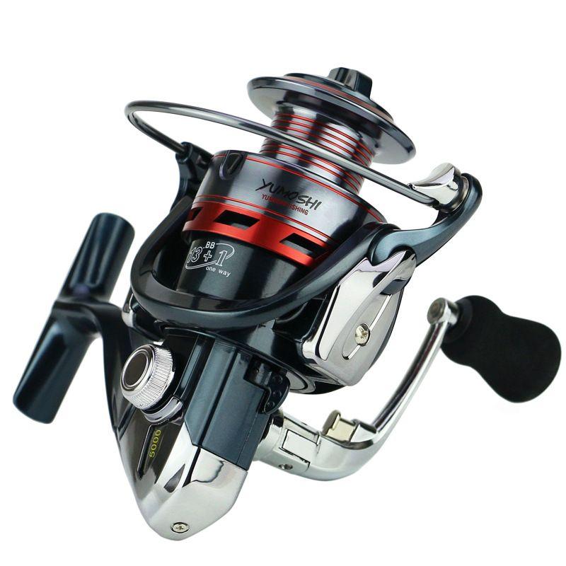 14BB Aluminium Spool Spinning Angelrolle-Rad 3000 4000 5000 Serie Übersetzungsverhältnis 5,5: 1 EVA-Griff Rechts / Links Veränderbar