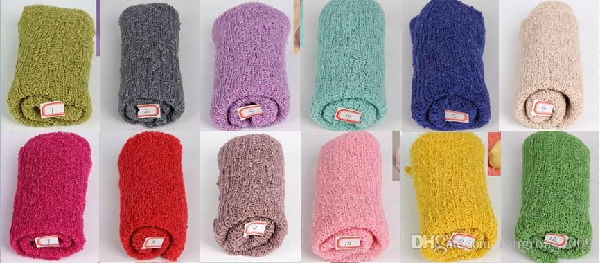 2016 New Newborn Baby Swaddles Receiving Blankets Cotton Yarn Elastic Blankets Photography props 40*150cm 680