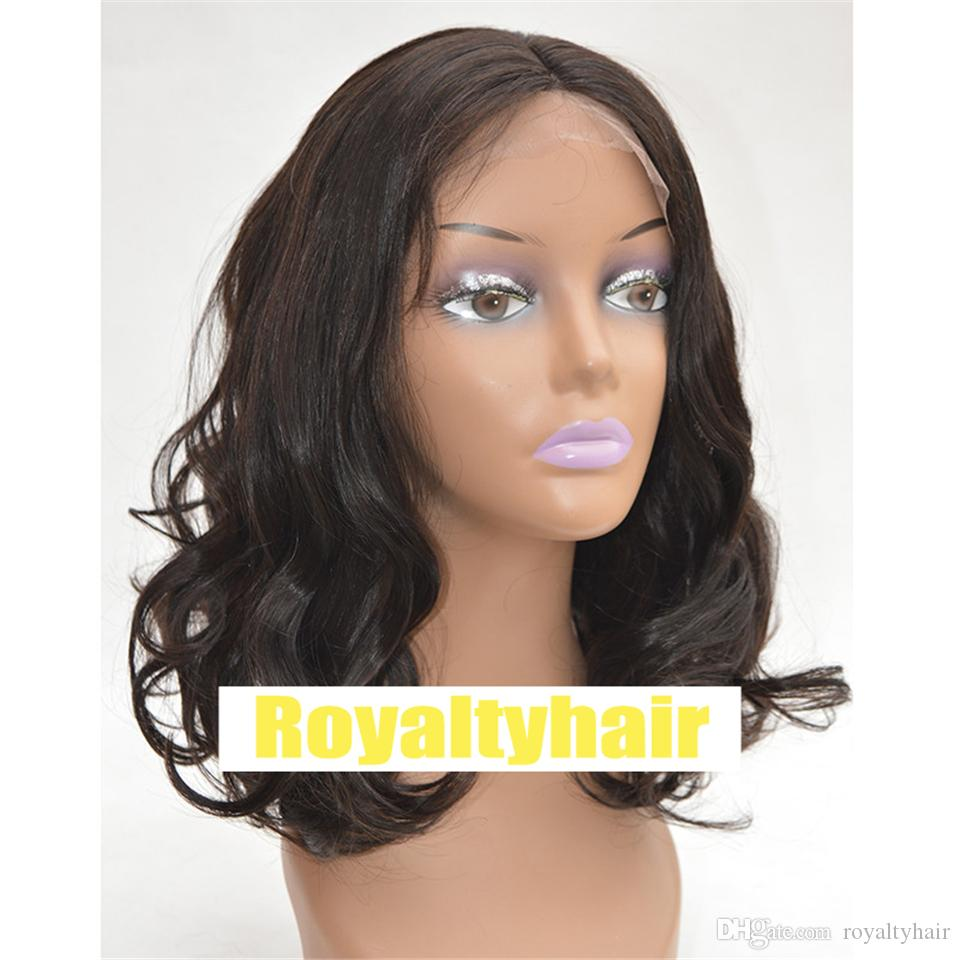 Short Human Hair Wigs Peruvian Body Wave Wig Hair Pre-Plucked Hairline Wavy 8-14 Inch Short Bob Lace Closure Wigs