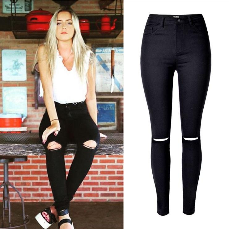 50cc47f8789 Fashion Ladies Army Green White Black Ripped Jeans Women High Waist ...