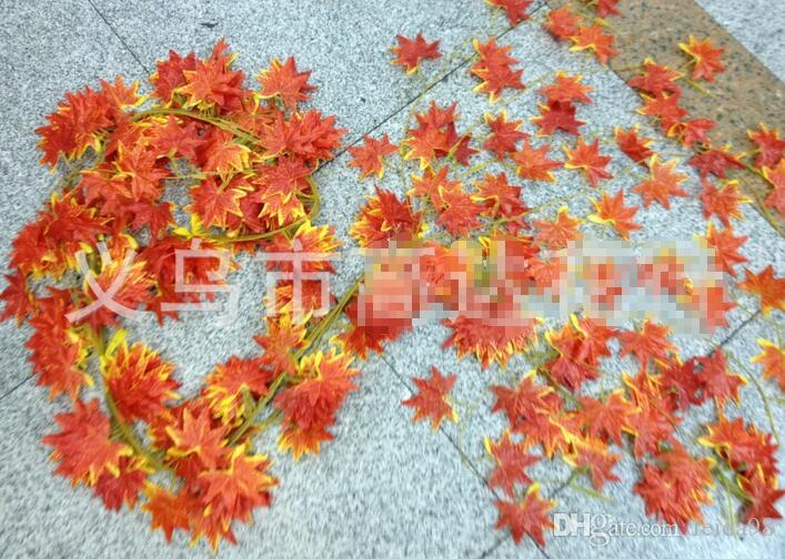 Flores decorativas envío gratis 10x Artificial otoño hoja de arce guirnalda de seda vid boda jardín decoración decoración G12