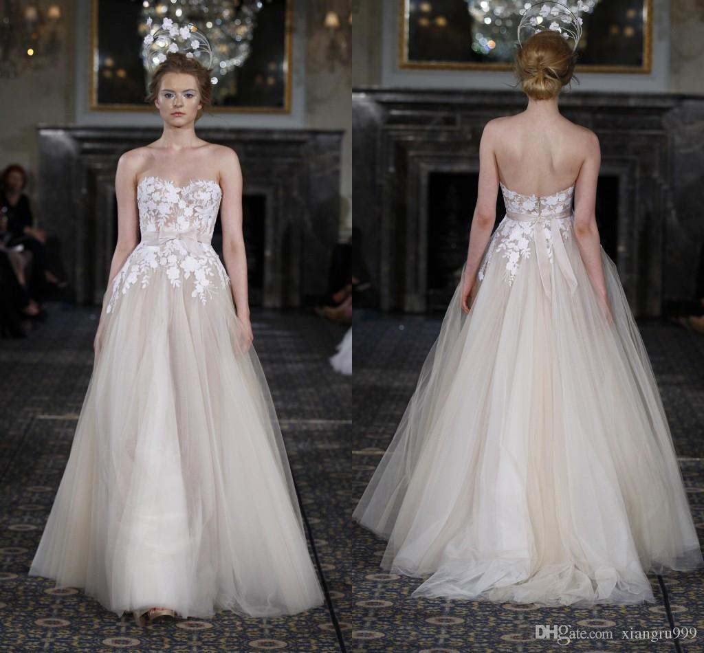 Discount Mira Zwillinger Champagne Lace Wedding Dresses Sexy