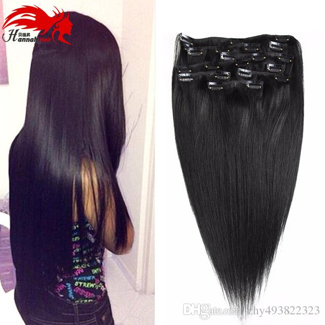 Hannah Brazilian Virgin Hair Straight Clip In Human Hair Extensions