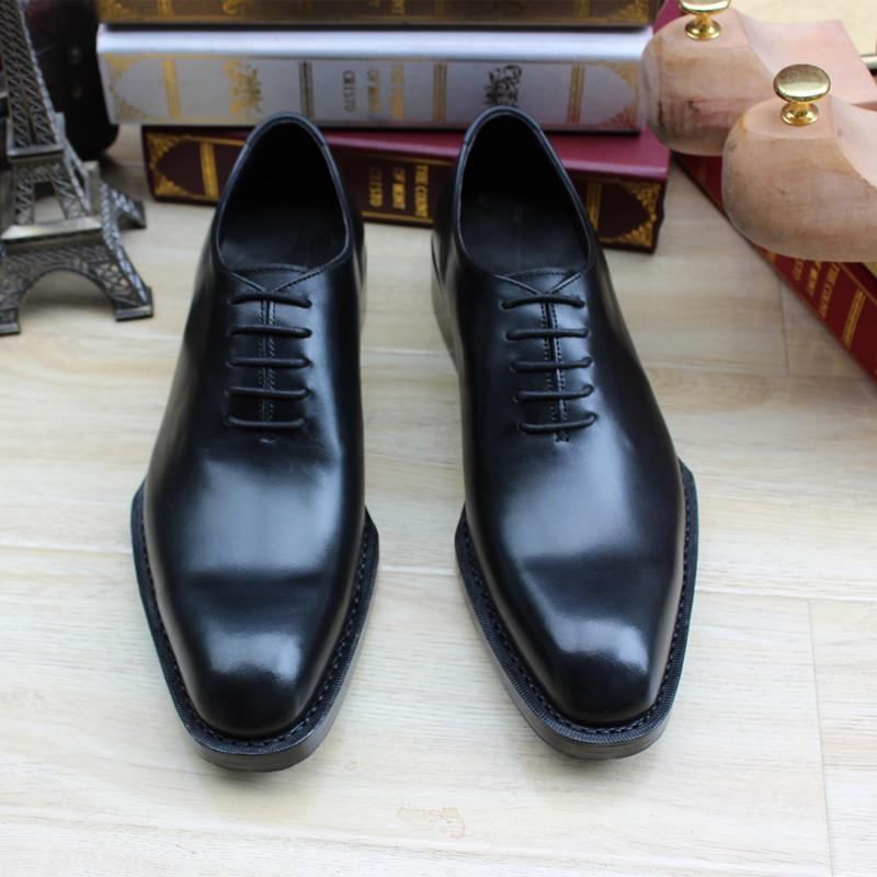 Luxury Custom Thick Leather Soled Dress Shoes For Men Black Mens ...