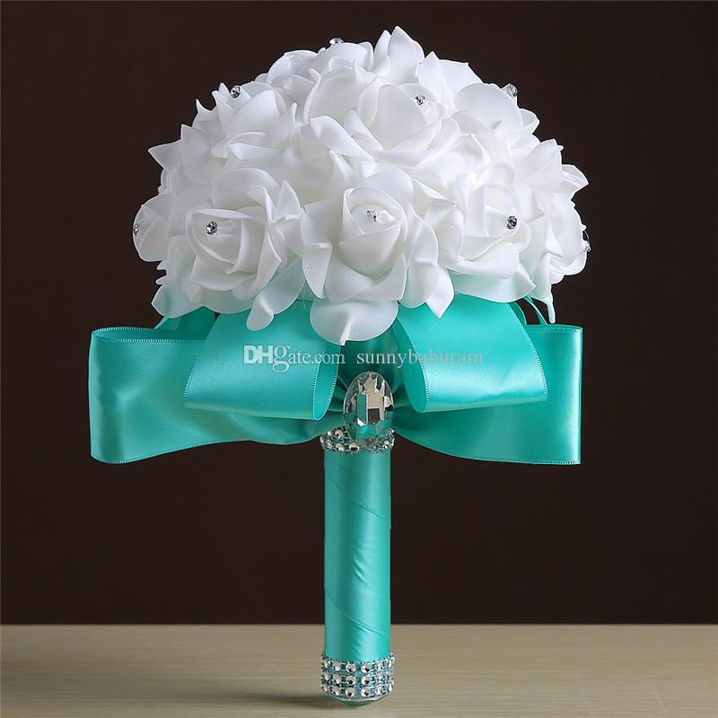 Оптовые кремовые белые букеты ручной работы Серьги Rhinestones Rose Bridesmaid Bridal Artificial Holding Брошь Букет Шелковая лентаОптовая W