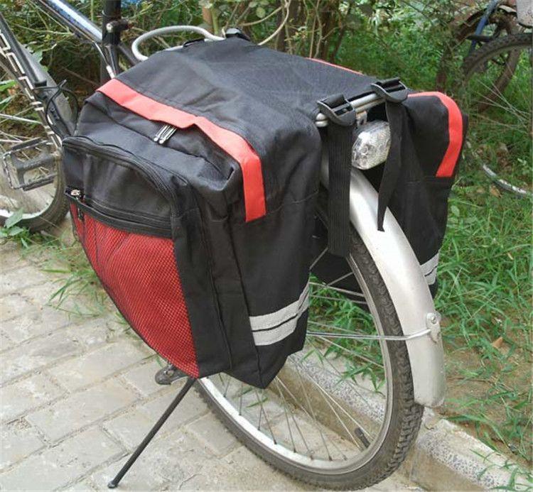 Schwarz Radfahren Fahrradsatteltasche Fahrradtaschen PVC und Nylon wasserdicht Double Side Gepäckträger Hecksitz Tasche Pannier Fahrradzubehör