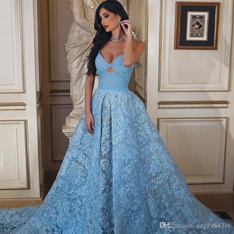 Latest Said-Mhamad Collections Prom Dress Sexy Spaghetti Straps Zipper Backless Celebrity Dress Glamorous Baby-Blue Lace Evening Party Dress