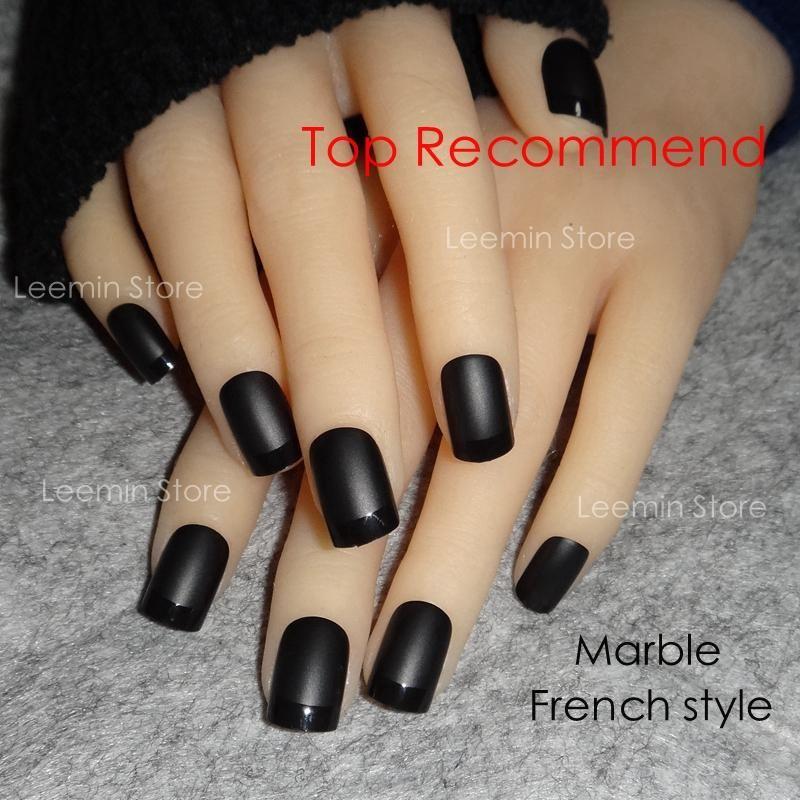 Wholesale Black Matte French Short Square False Nail Gel Nails ...