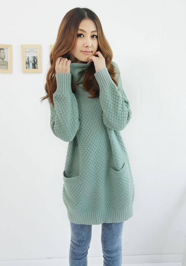 3a716c8e49 2019 Wholesale Oversized Women Long Thin Winter Sweaters Knitted Loose  Design Turtleneck Sweaters And Pullovers Pockets Winter Clothing S9 From  Honey111