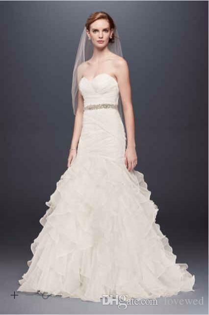 2017 Organza Mermaid Wedding Dresses Sweetheart Necline With Pleats ...
