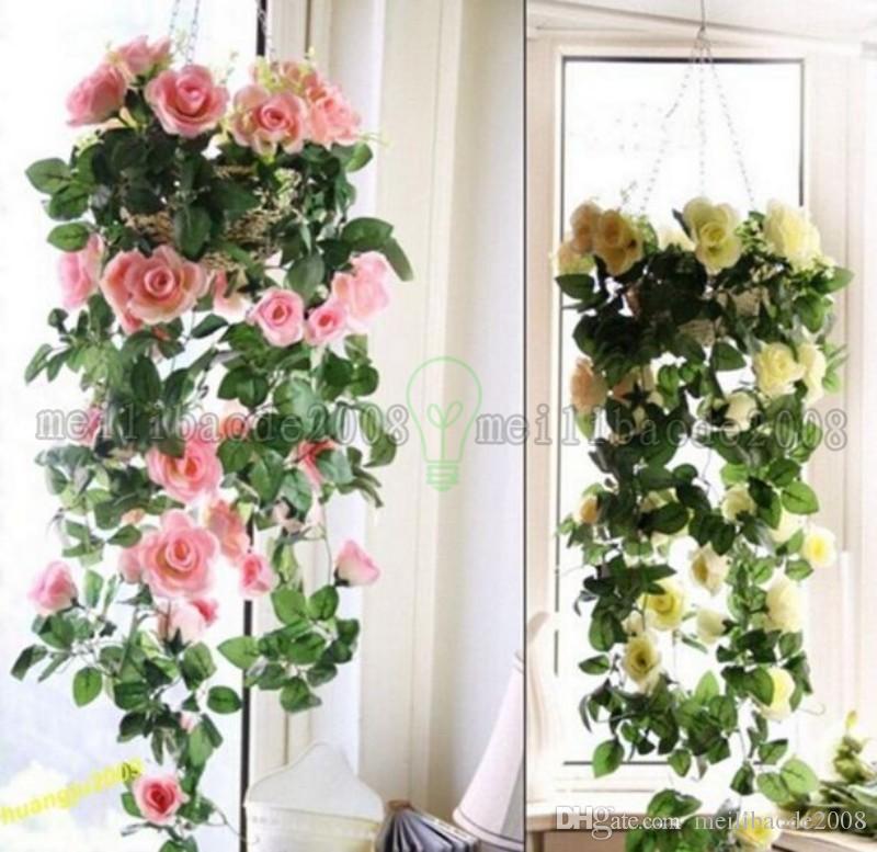 Brand New Fashion Silk Rose Flower Fake Artificial Ivy Vine Hanging Garland home Wedding Decor MYY