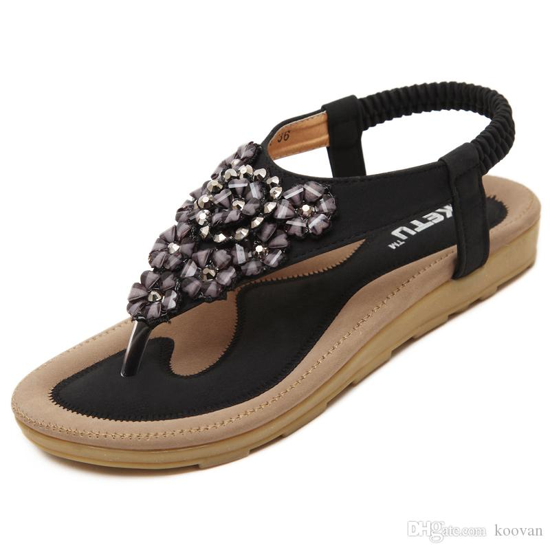 064418872813d Koovan Summer Sandals 2017 New Summer Korean Ladies Shoe Bohemia Type  Flower Rhinestones Flat Button Clip Toe Beach Shoes Walking Sandals Sandals  From ...