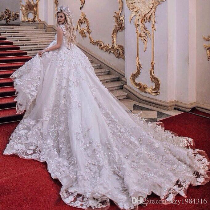 3D Floral Appliques Wedding Dresses A-Line Lace ApplIique Key-Whole Sheer Back Sexy Bridal Dresses Gorgeous Tulle Chapel Train Wedding Gowns