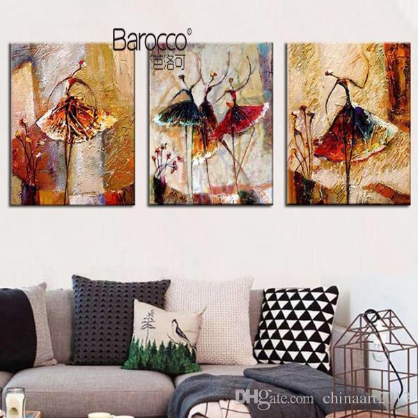 3 조각 추상 발레 댄서 유화 손으로 그린 그림 캔버스에 유화 현대 홈 벽 아트 장식