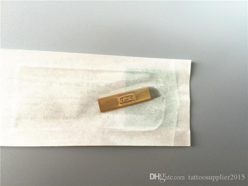100 قطع pcd 14pin إبر دائم إبرة المتاح التجميل الحاجب إبر الوشم شفرة ل 3d اليدوية التطريز microblading