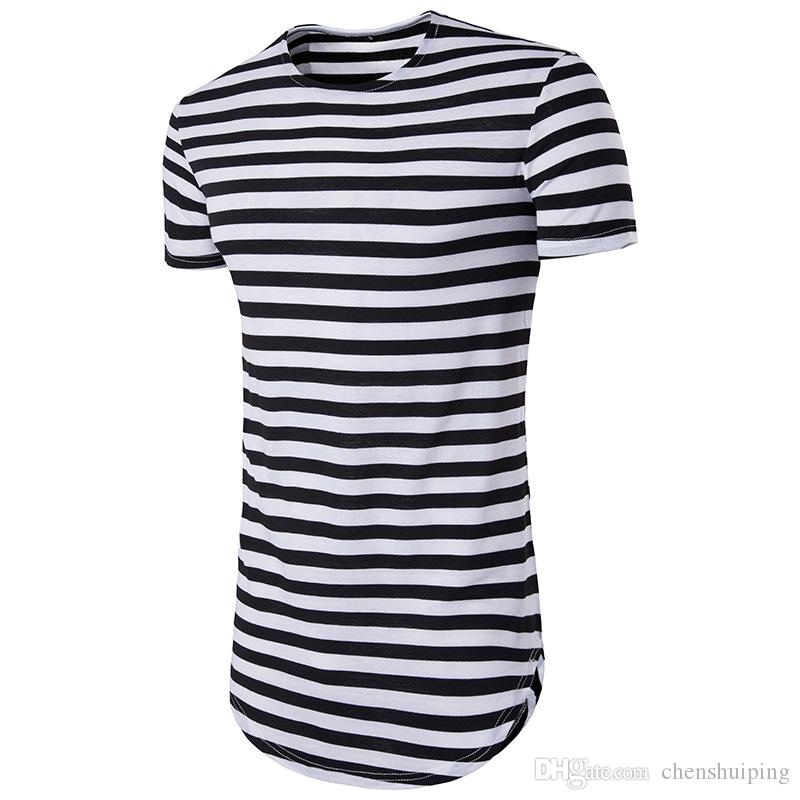 Compre Camisa De La Calle De La Moda De Verano Hombres Hip Hop Manga Corta  Camiseta O Cuello De La Raya Camisetas Largas Camisas Para Hombre A  15.23  Del ... d51c09e492d