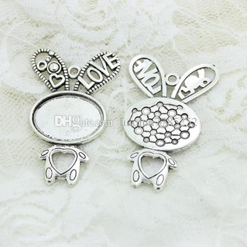 Sweet Bell Min order two color rabbit filigree cameo cabochon pendant setting 33*52mmFit 18*25mm dia Cabochon Base D0829