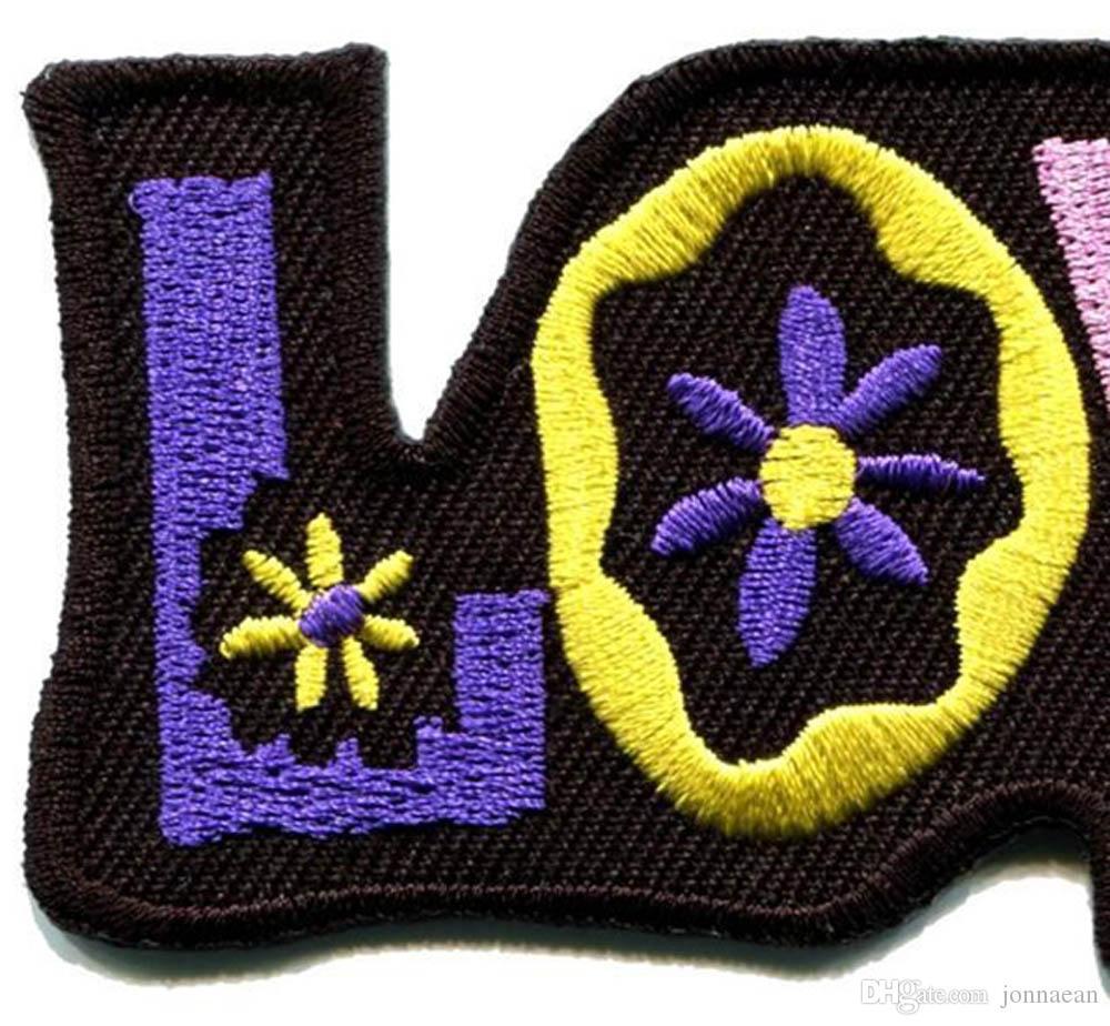 Custom Love peace hippie boho retro flower power hippy embroidered iron-on patch new design badge