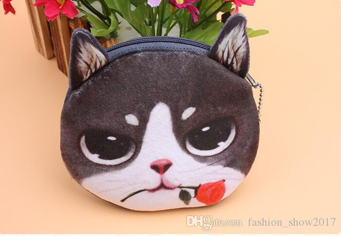 Yeni çanta sikke çantalar cüzdan bayanlar 3D baskı kediler köpekler hayvan büyük yüz değişikliği moda sevimli küçük fermuarlı çanta