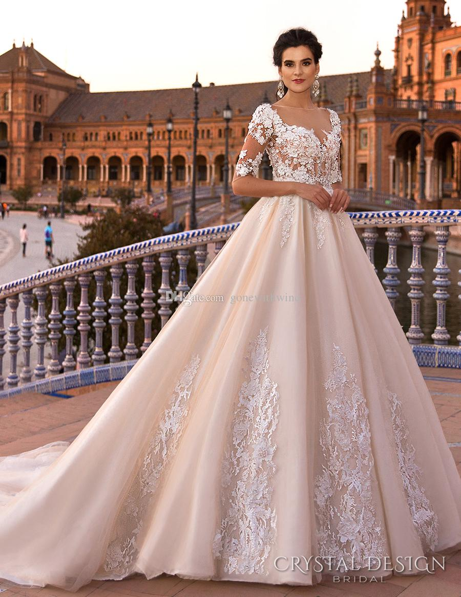 Blush royal train princess ball gown a line wedding for Crystal design wedding dresses price