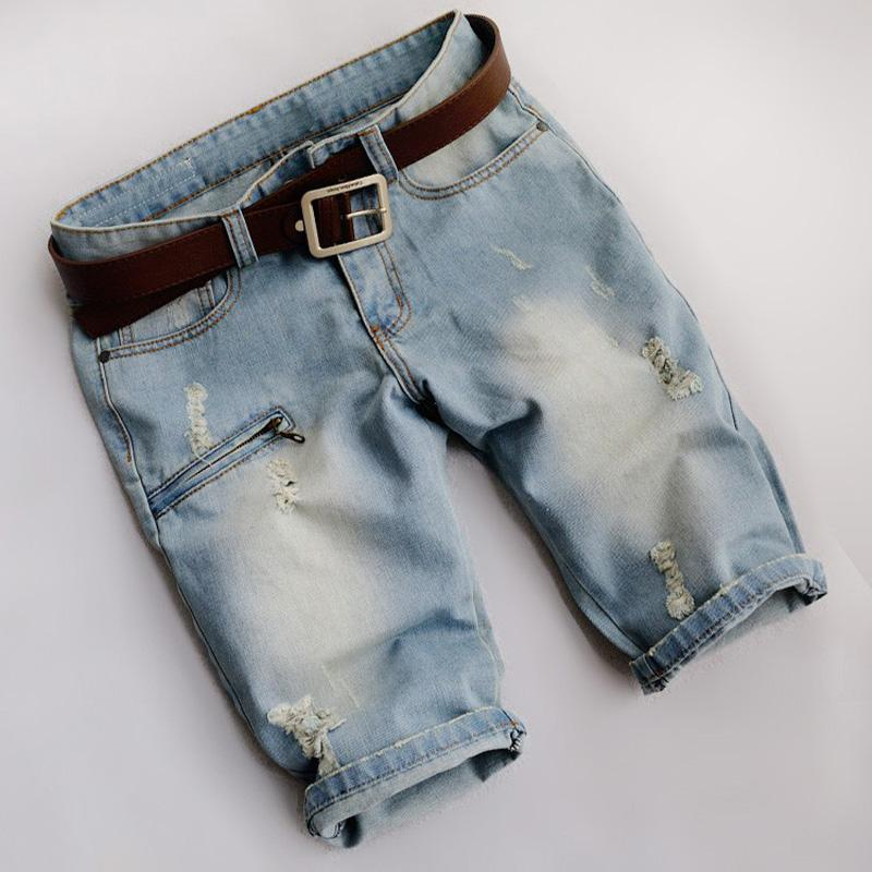 0d288ca3c2720 2019 Wholesale Men S Plus Size Fashion Hole Denim Shorts Male Casual Zipper  Rivet Motorcycle Jeans For Man Capri Breeches From Shipsoon
