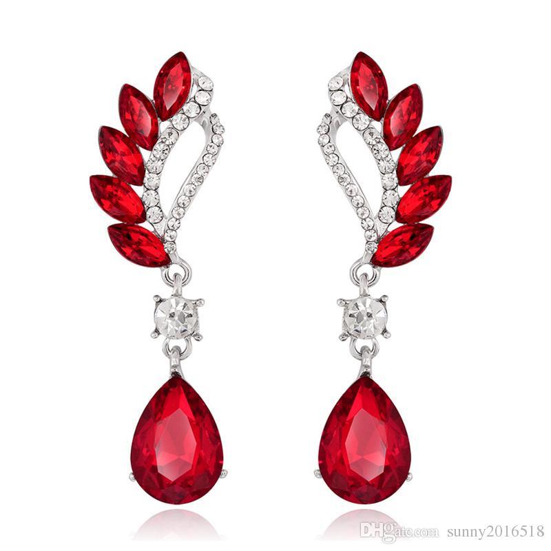 Nueva moda lágrima gota de cristal cuelga los pendientes zafiro amatista piedras preciosas pendientes de cristal para las mujeres joyería del banquete de boda regalos