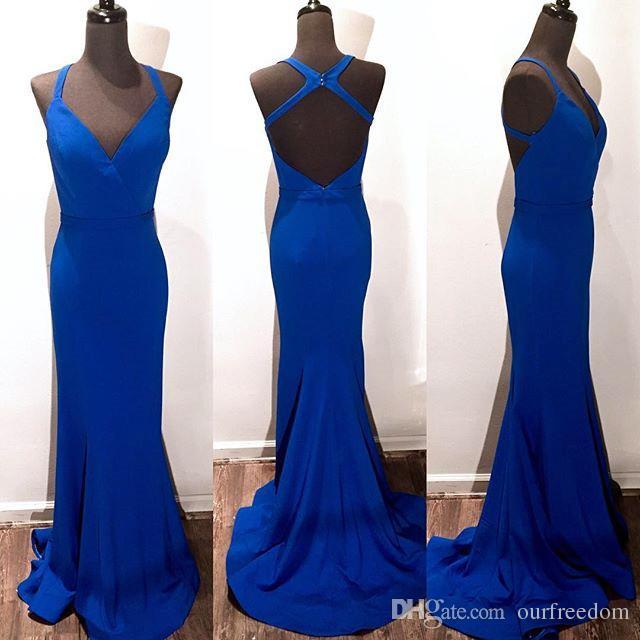 Дешевые 2019 элегантное русалка вечернее платье выпускного платья труба синий v-образным вырезом без спинки длинные атласные вечерние платья