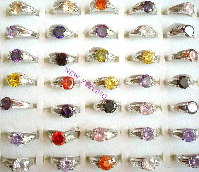 Wholesale many colors Beautiful Zircon Stone Rings mixed Size for Woman Jewelry Rings Low Price