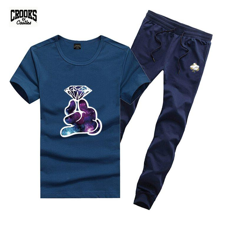 D1988 frete grátis s-5xl fatos de treino novos homens lazer bandidos e castelos t-shirt e calças compridas terno o pescoço cintura elástica