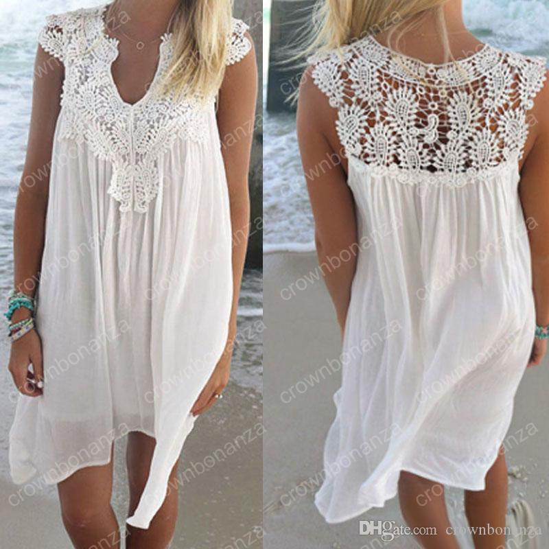 b6793e183c963 2019 Plus Size Beach Cover Ups Women Summer Hollow Out Lace Bikini Swim  Bathing Suit Loose Chiffon Beach Dress 2XL From Crownbonanza